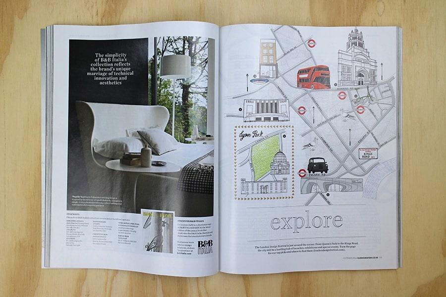 Elle Decoration  London Design Week Map Jitesh Patel Illustration