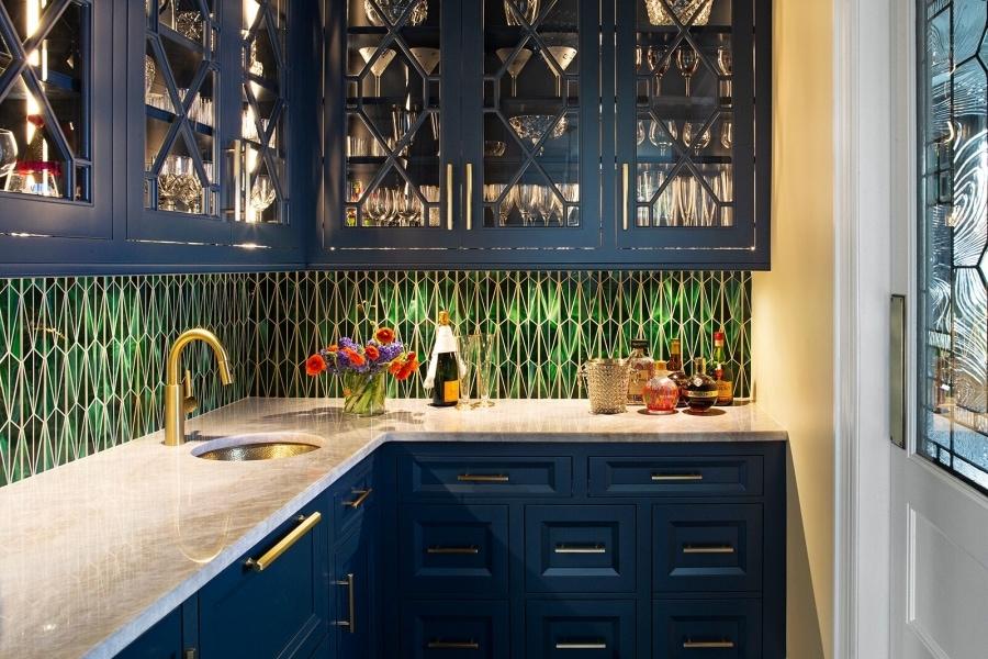 кухня синего цвета фото интерьер