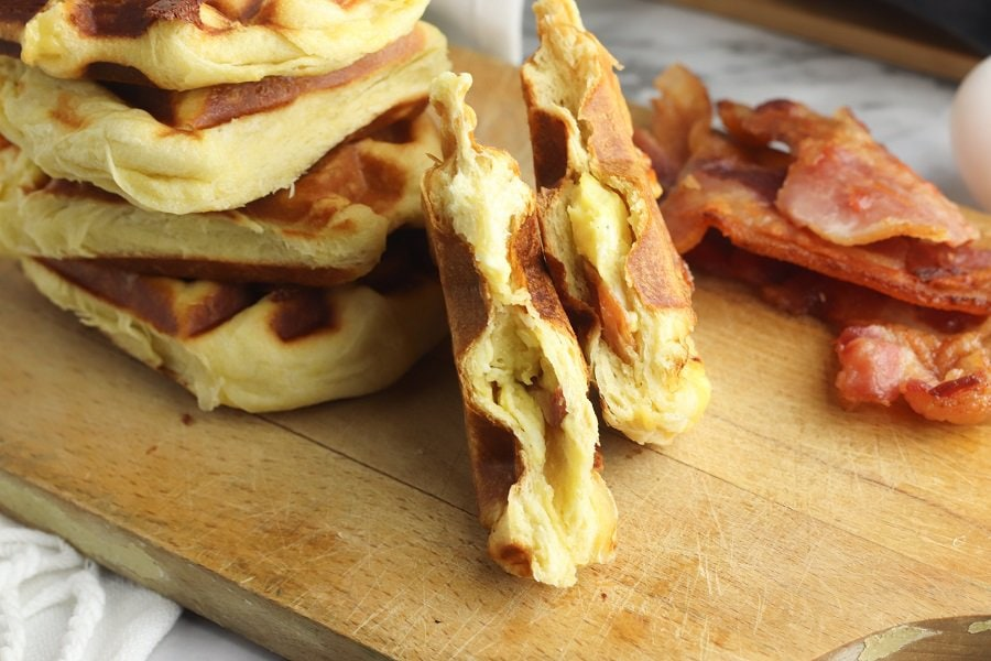 Bacon and Egg Stuffed Biscuit Waffles