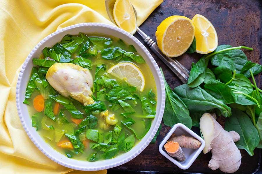 chicken spinach soup