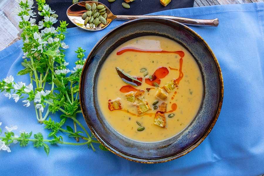 instant pot buffalo sweet potato soup in a bowl gluten free