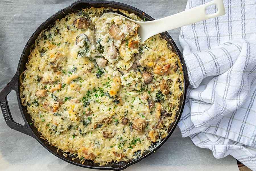 one pan, chicken mushroom casserole, gluten free