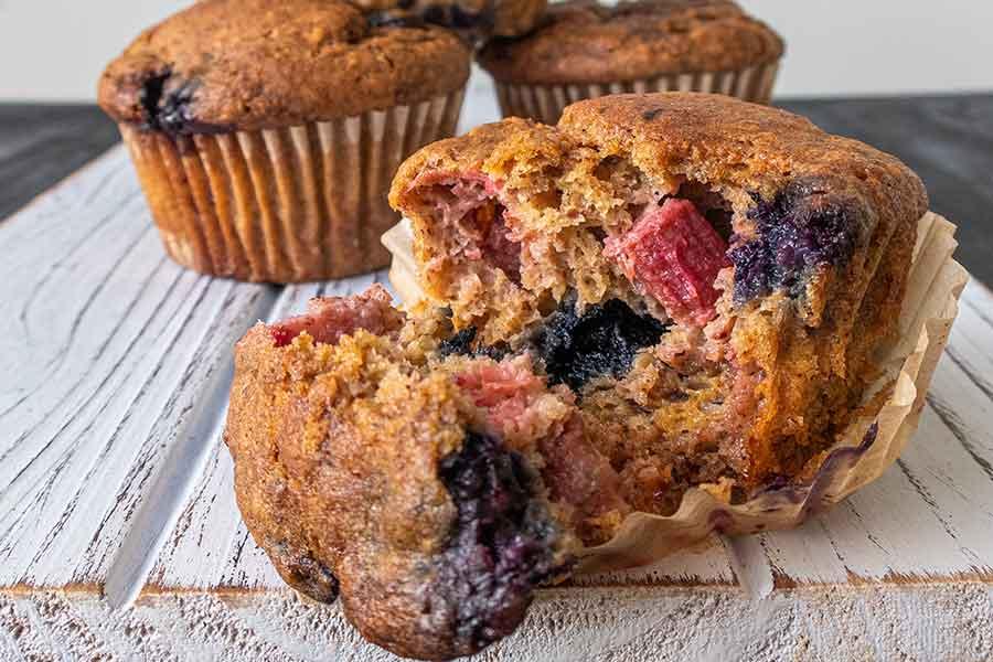 blueberry rhubarb muffin, gluten free