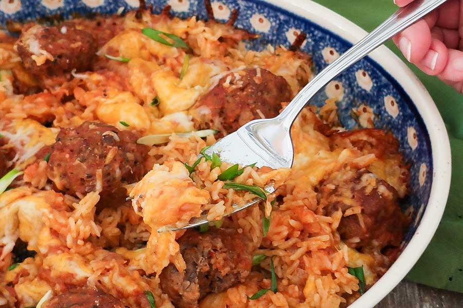 meatballs and rice casserole