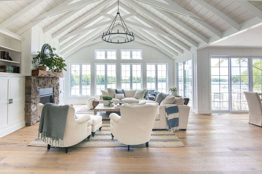Lake House White Living Room Decor