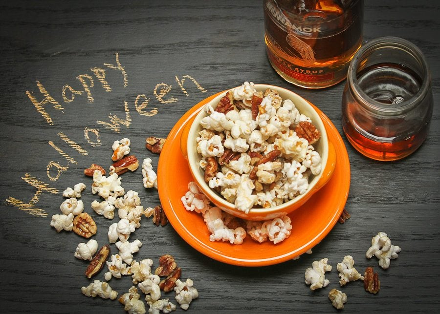 Maple syrup and popcorn by Runamok Maple
