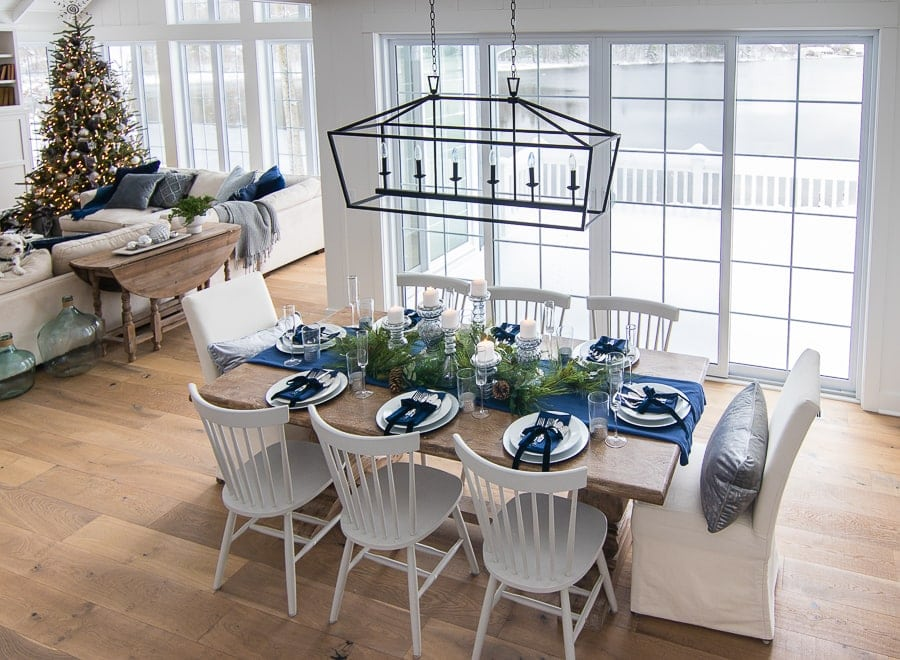 faux greenery garland Christmas tablescape