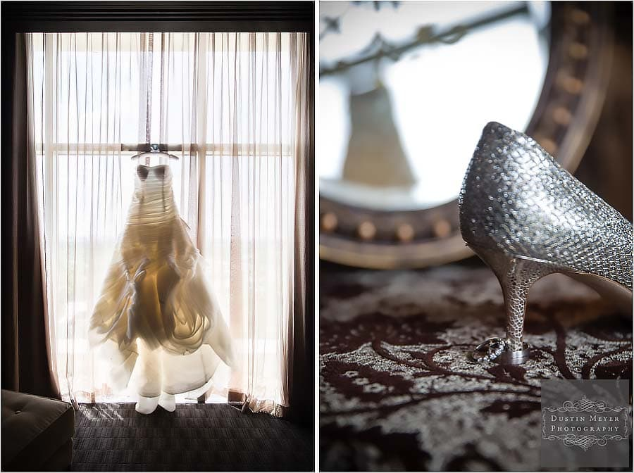 bridal gown wedding shoes rings detail photo