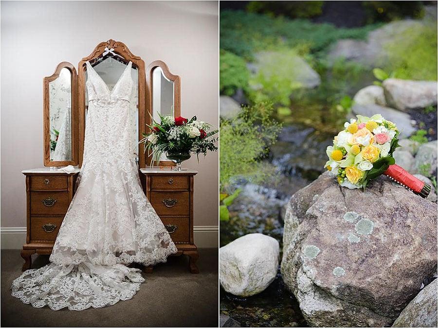 wedding bridal bouquet and wedding gown mirror