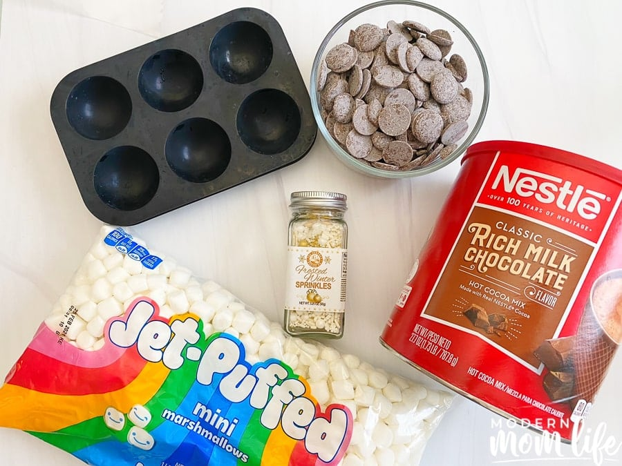 ingredients for hot chocolate bombs