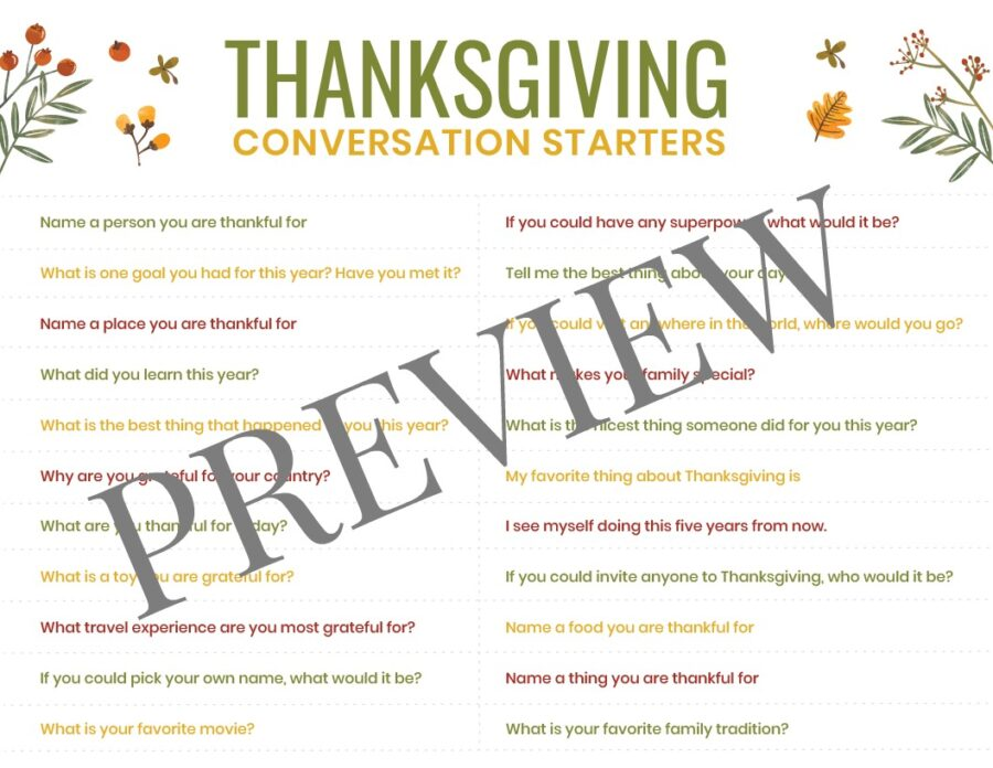 Thanksgiving Conversation Starters Printable Preview