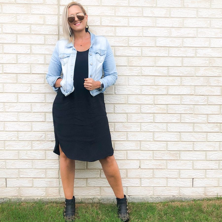 how to wear a denim jacket and dress   40plusstyle.com
