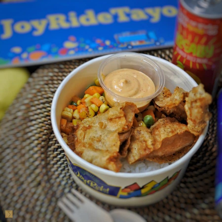Crispy Fried Chicken with Buttered Corn & Carrots and Steamed Rice
