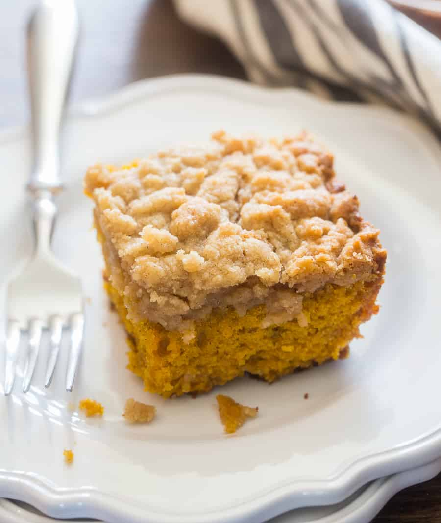 Piece of Pumpkin Coffee Cake with Fork at an angle