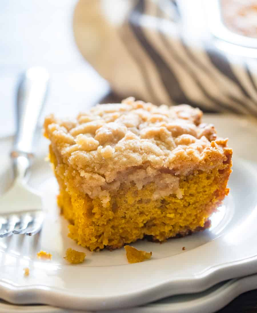 Pumpkin Coffee Cake Piece with Fork on Plate