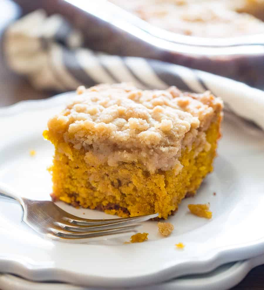 Piece of Pumpkin Coffee Cake with Fork