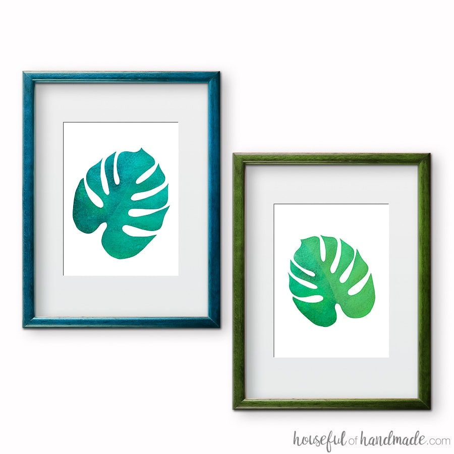 Blue and green palm leaf art prints are the easiest way to add tropical decor to your home. Download these free printables today at Housefulofhandmade.com.