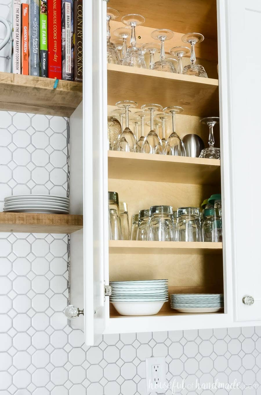"""Open 42"""" upper cabinet with lots of storage."""