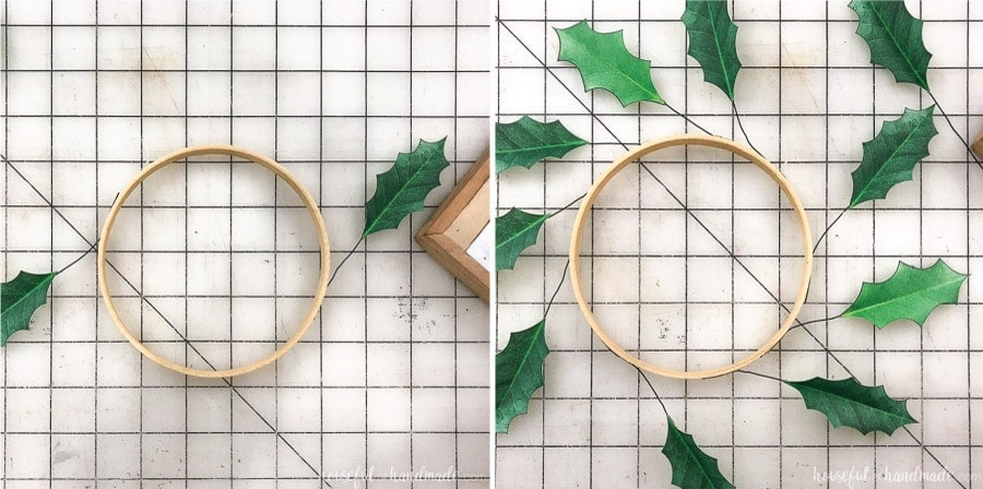 Step 3 of making paper holly wreaths: Glue the leave to the embroidery hoop.