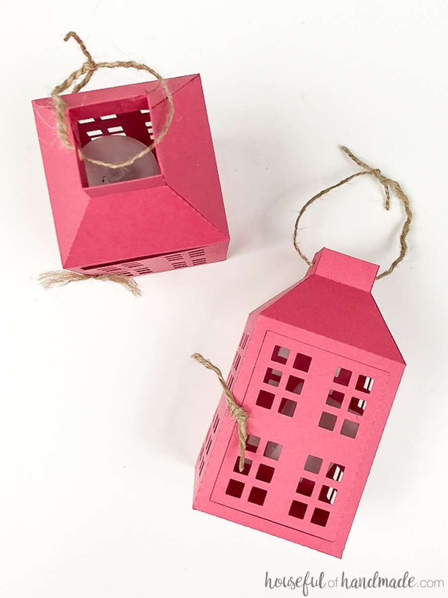 Pink paper lantern ornaments are the best inexpensive paper Christmas decor.