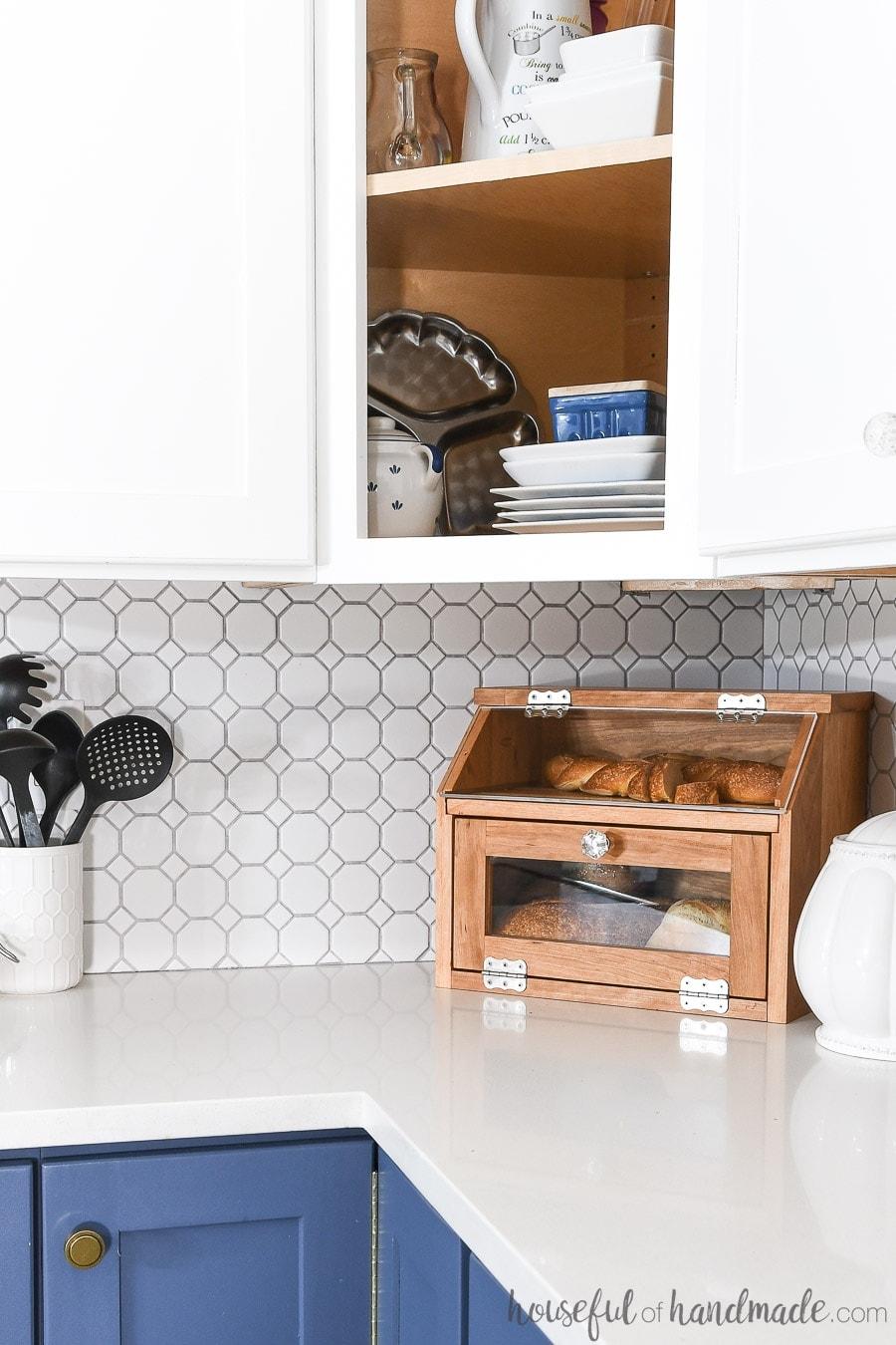 DIY bread box in the corner of a kitchen counter.