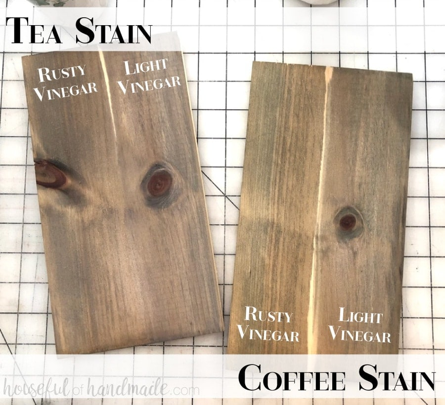 Two pieces of wood stained with different homemade natural wood recipes to show the difference in color.