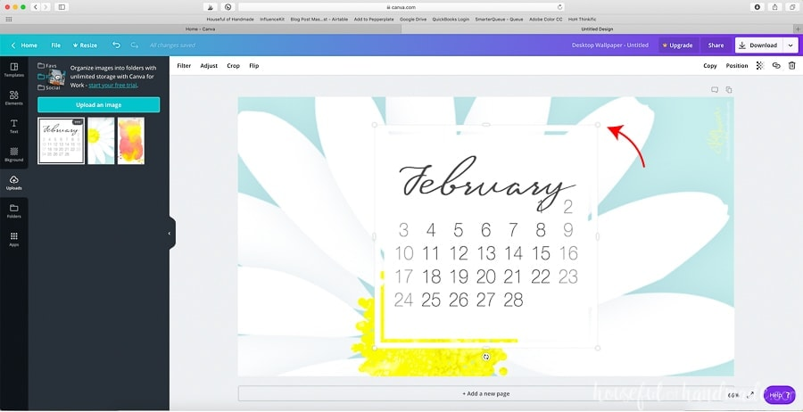 Add the current calendar image to the canvas.