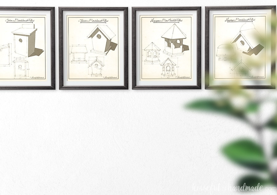 Horizontal picture with 4 vintage birdhouse plans art in frames.