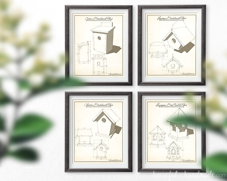 Four printable spring art prints made to look like vintage build plans of birdhouses.