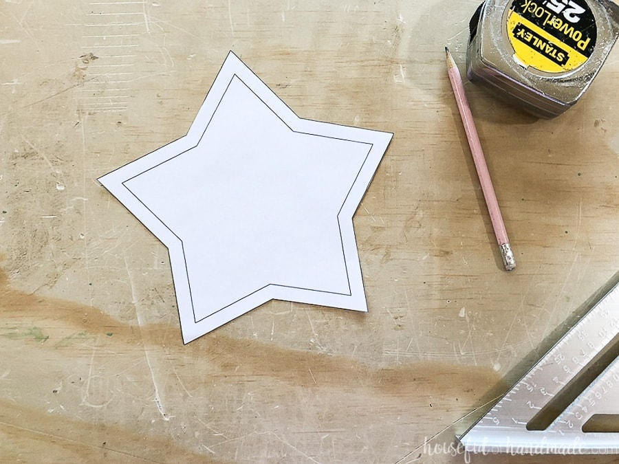 Cut out star template for the wooden star bowls