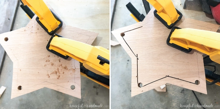 Top star piece with holes drilled to allow jig saw blade inside, then cutting out with a jig saw