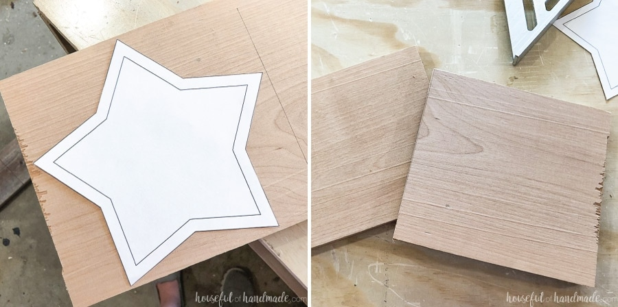 Star template on a piece of wood to measure for size and two pieces of wood cut for the star bowl