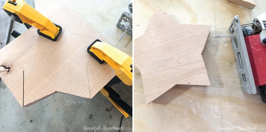 Cutting the wooden star bowl out with a jig saw