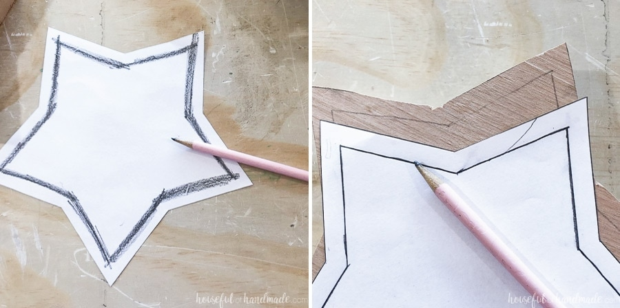 Showing how to easily transfer the inside star template for the wooden star box