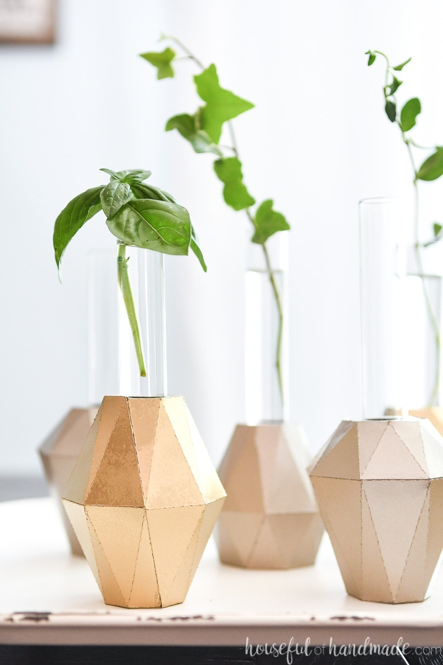 Gold painted jewel shaped bases for test tube holders with plant clippings in them.