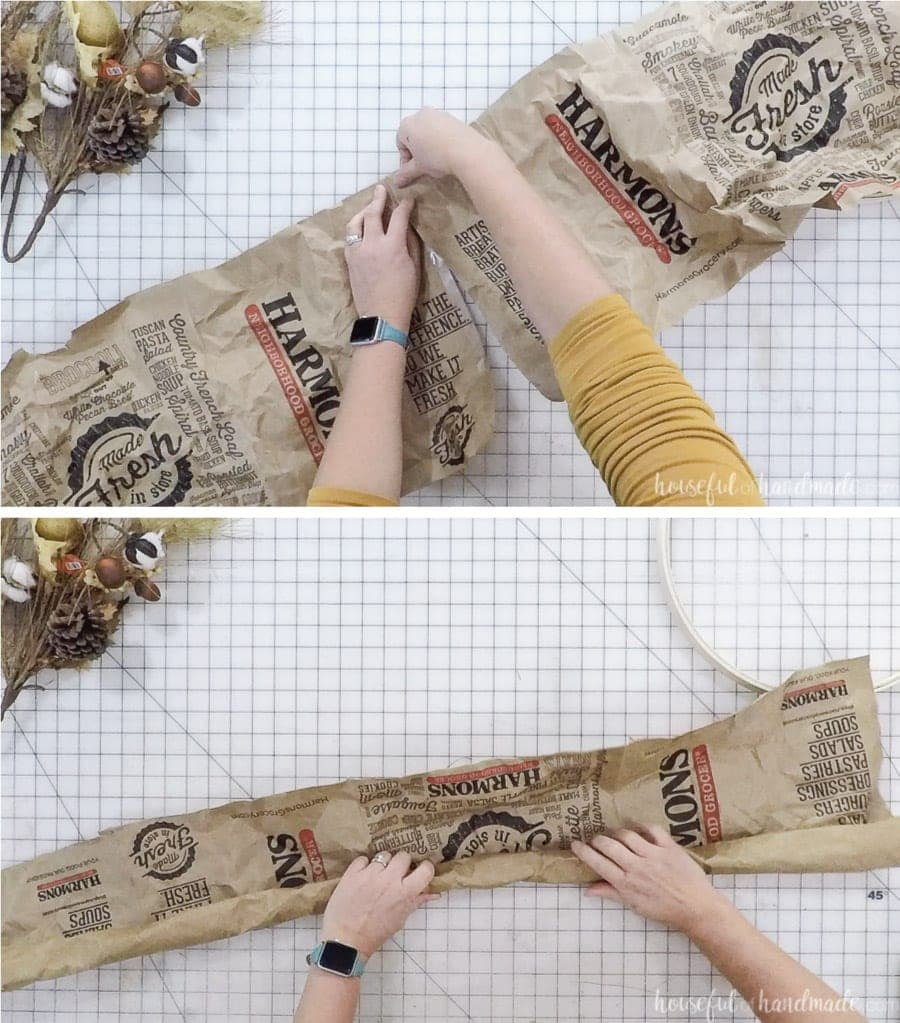 Turning 2 paper bags into a tube of brown paper for the DIY wreath.