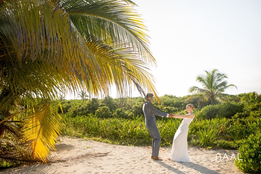Bride and groom at Blue Venado beach Club by Naal Wedding Photography