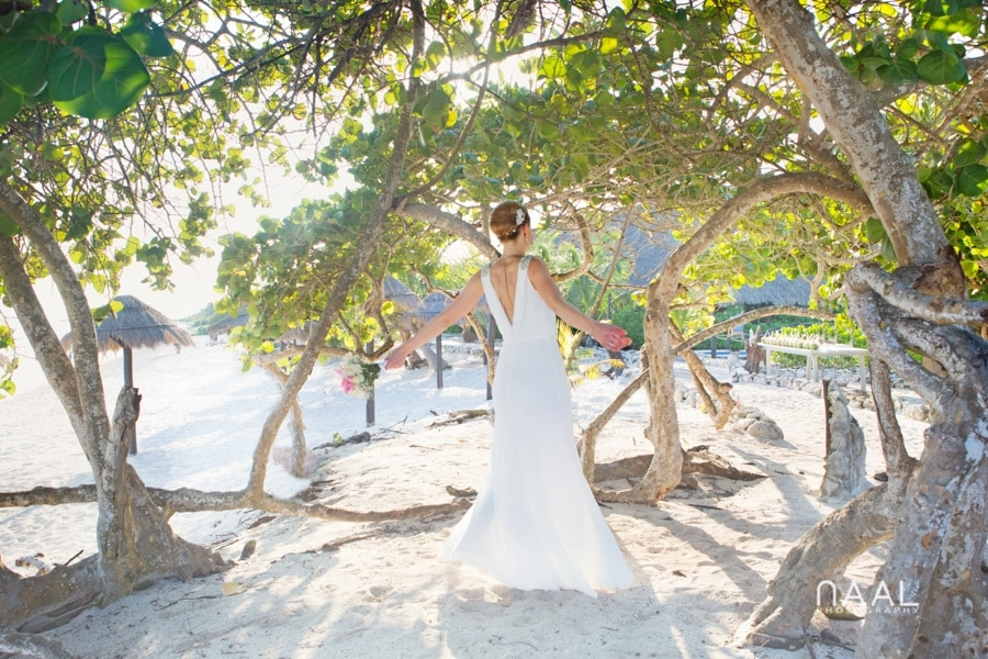 Bride at Blue Venado beach Club by Naal Wedding Photography