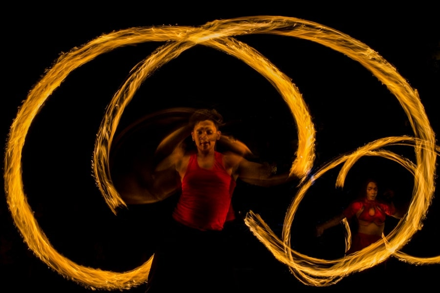Fire dancers by Shangri-La wedding photographer Julian Abram Wainwright