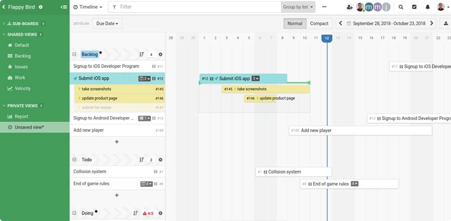 L'interface de Kantree, un outil de gestion de projets sur écran interactif