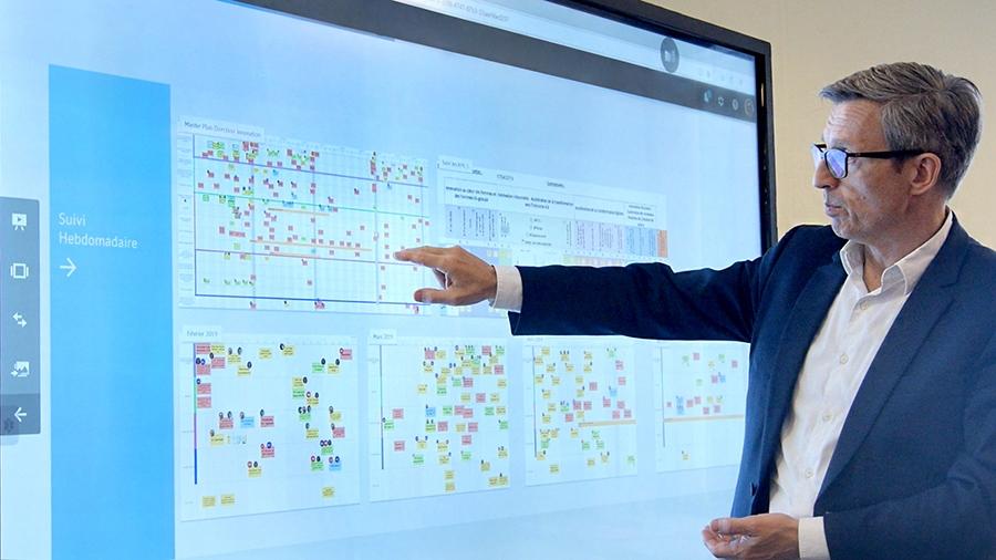 Utilisation du logiciel iObeya par la société Orano sur un écran interactif SpeechiTouch