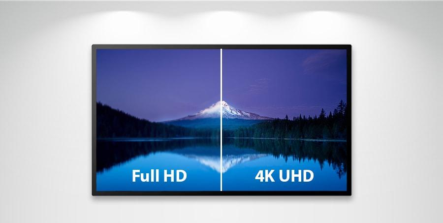 différence entre définition 4K UHD et Full HD sur écran interactif