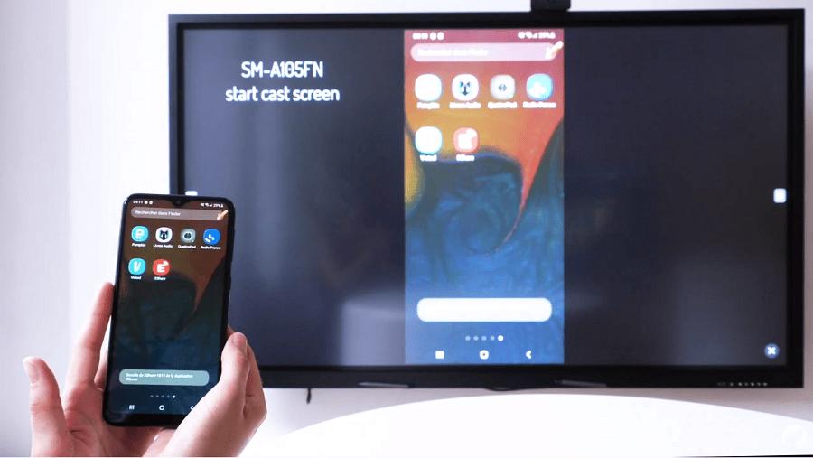 Le partage d'écran d'un Smartphone sur un écran tactile avec EShare
