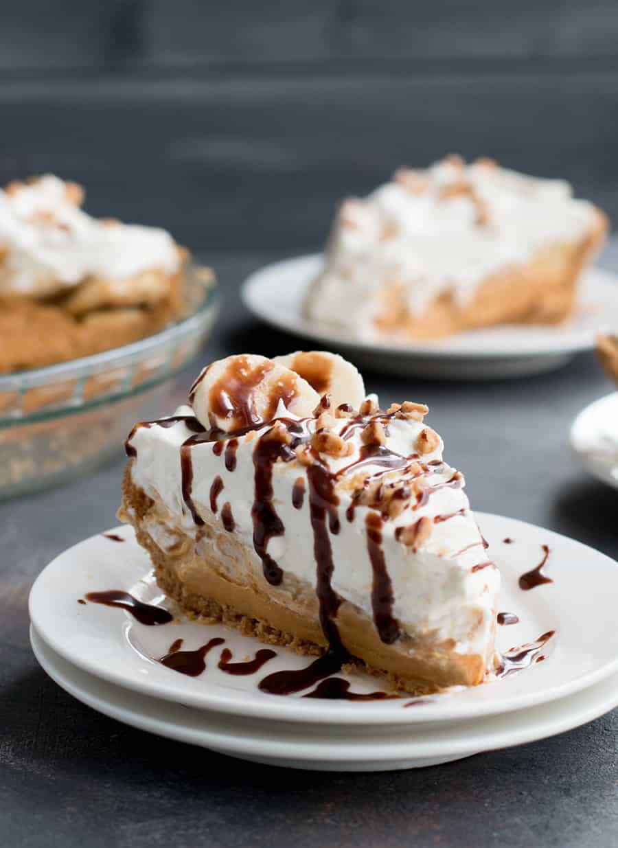 Easy Banoffee Cream Pie pairs the short cut of dulce de leche with the twist of adding cream cheese. A drizzle of Nutella syrup takes it over the top!