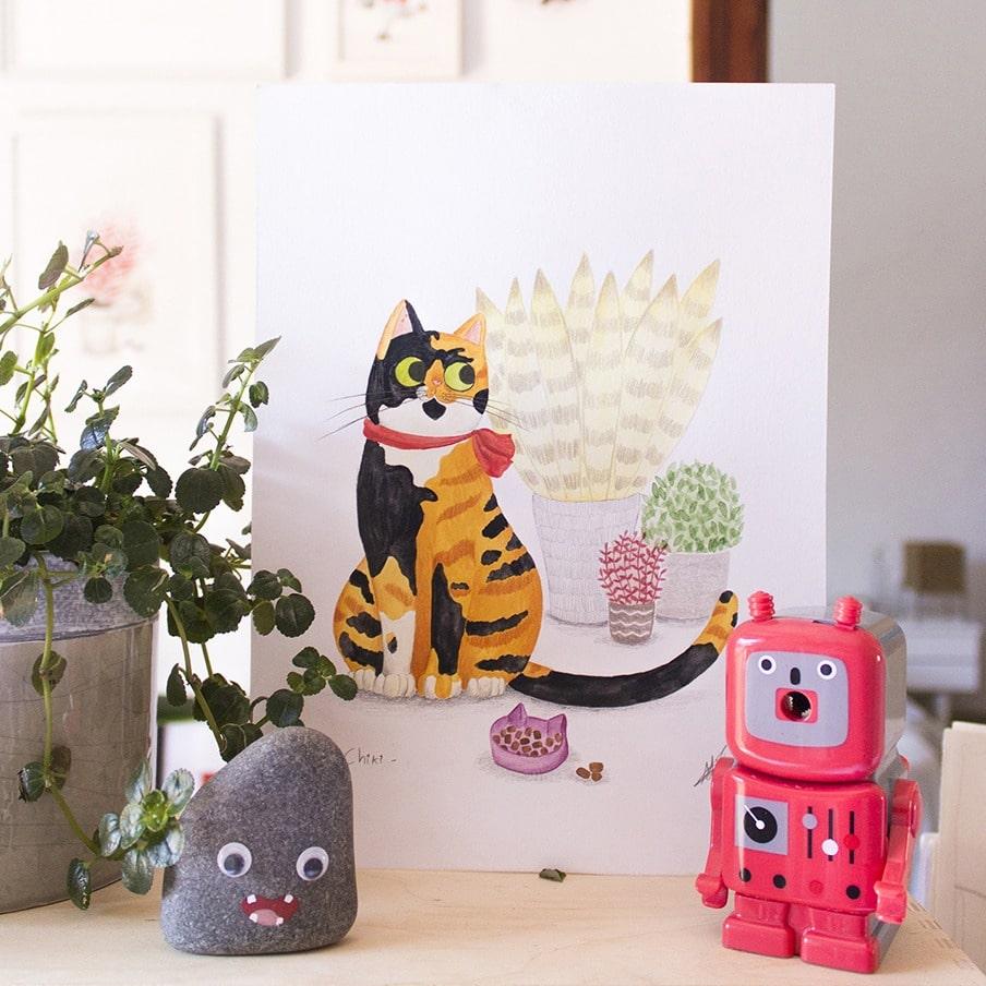 ilustracion de gatos, dibujo de gatos, ilustracion infantil de gatos, retrato de gato personalizado, retrato de mascota personalizado, Mar Villar, retratos de gatos, ilustracion personalizada de gato, ilustración personalizada de mascota,