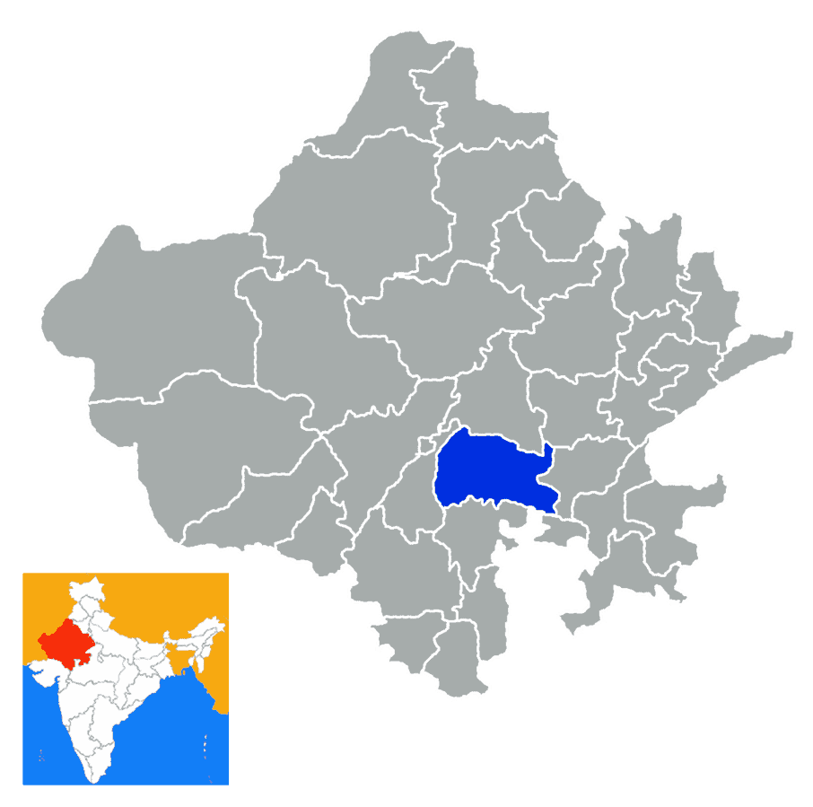 Bhilwara City in Rajasthan & India Map