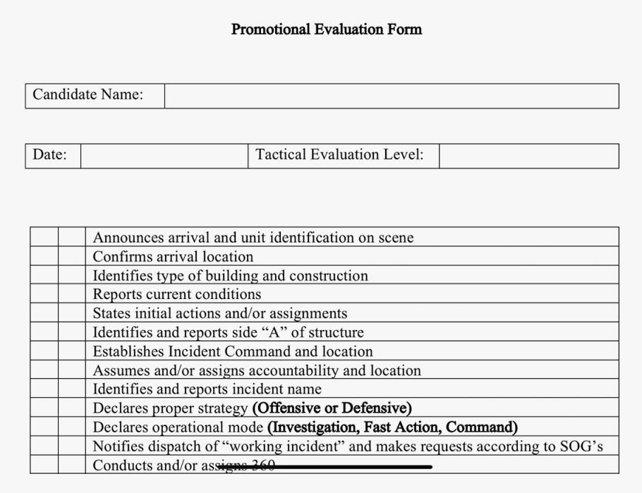 Command checklist for fire simulation in promotional exam