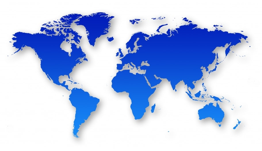 Blue world map for international chiller company
