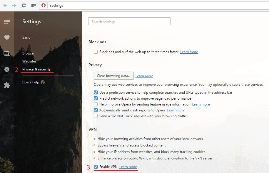 Opera VPN settings