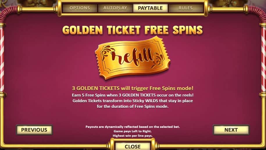 Golden Ticket Free Spins Pokies
